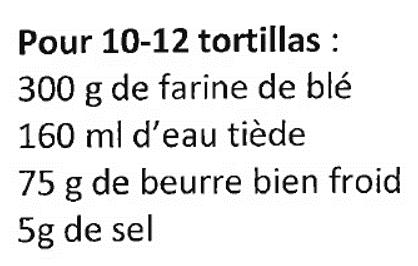 ingrédients tortillas