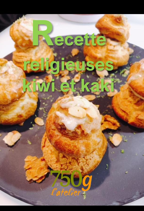 Recette originale :  Religieuses Kiwi /Kaki